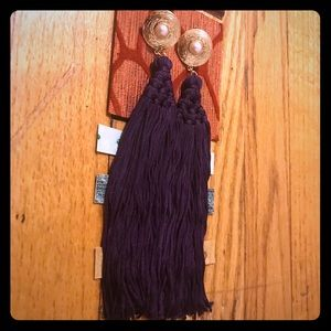 Purple/Gold Pearl Long Tassel Earrings